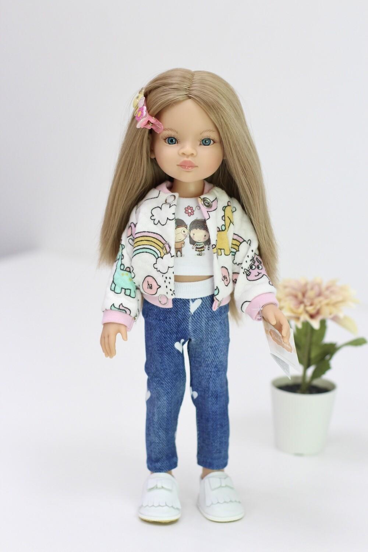 Кукла Маника с волосами по пояс, с голубыми глазами в стильном наряде  (Паола Рейна), 34 см