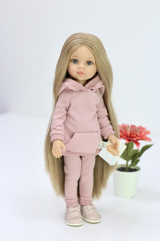 Предзаказ. Отправка после 10 июня. Кукла Карла Рапунцель с серо-голубыми глазами в костюме пудра (пижама в комплекте), Паола Рейна , 34 см