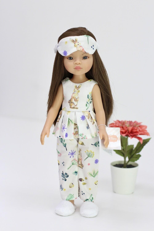 Кукла Мали с серыми глазами в модной пижаме с тапочками, Паола Рейна , 34 см