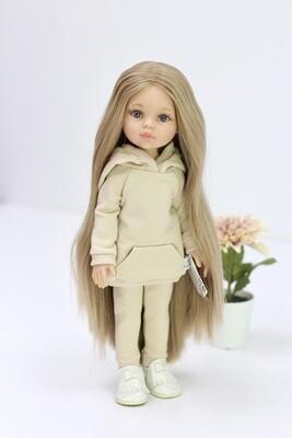 Кукла Карла Рапунцель с серо-голубыми глазами в костюме беж (пижама в комплекте), Паола Рейна , 34 см
