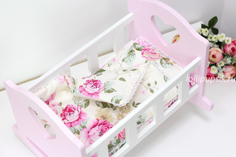 Кроватка бело-розовая для кукол до 34 см, с постелькой «Цветы»