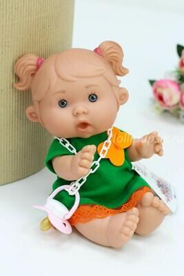 Ванильный пупс Marina&Pau Девочка с пышными хвостиками - 26 см