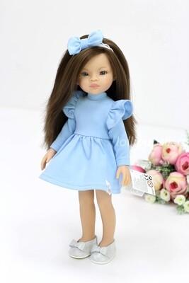 Кукла Мали с серыми глазами в голубом платье, Паола Рейна , 34 см