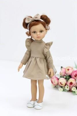 Кукла Кристи с буклями в модном платье цвета карамель,  Паола Рейна , 34 см