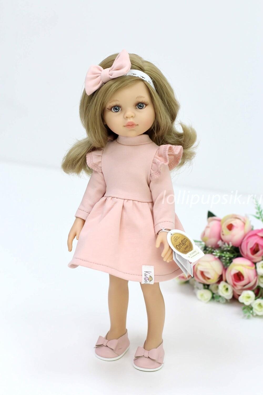 Кукла Карла с волосами по пояс в модном платье персикового цвета, с серыми глазами (Паола Рейна), 34 см
