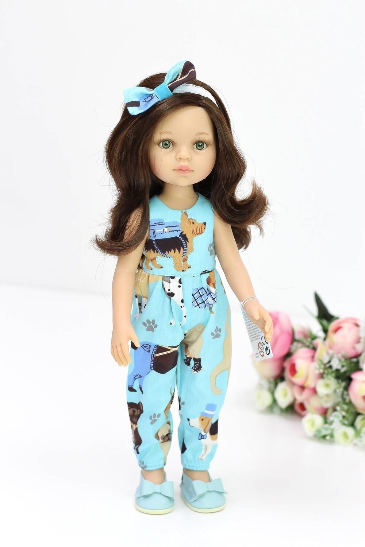 Кукла Кэрол с волосами по пояс в комбинезоне с собачками, с зелеными глазами (Паола Рейна), 34 см
