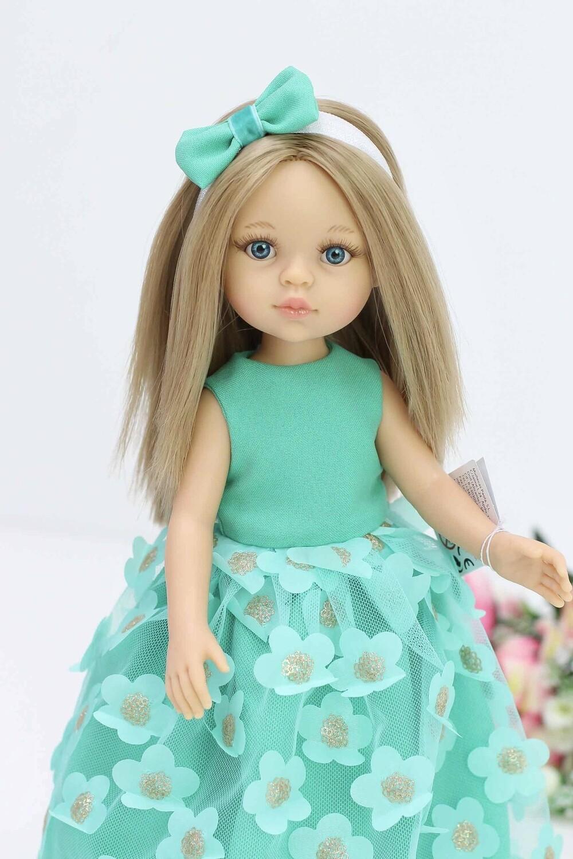 Кукла Карла с голубыми глазами, с прямыми волосами по пояс в нарядном образе (Паола Рейна), 34 см