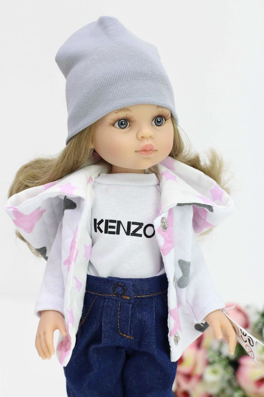 Кукла Карла с серыми глазами, волосами до пояса в стильном наряде (Паола Рейна), 34 см