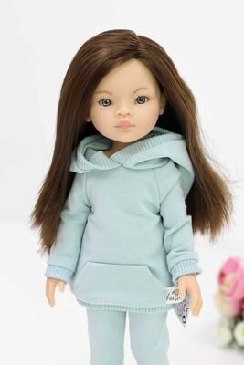 Кукла Мали с серыми глазами в мятном костюме, Паола Рейна , 34 см