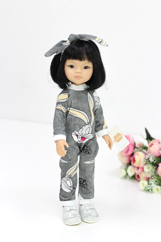 Кукла Лиу с каре в модном комбезе с Бакс банни, Паола Рейна, 34 см