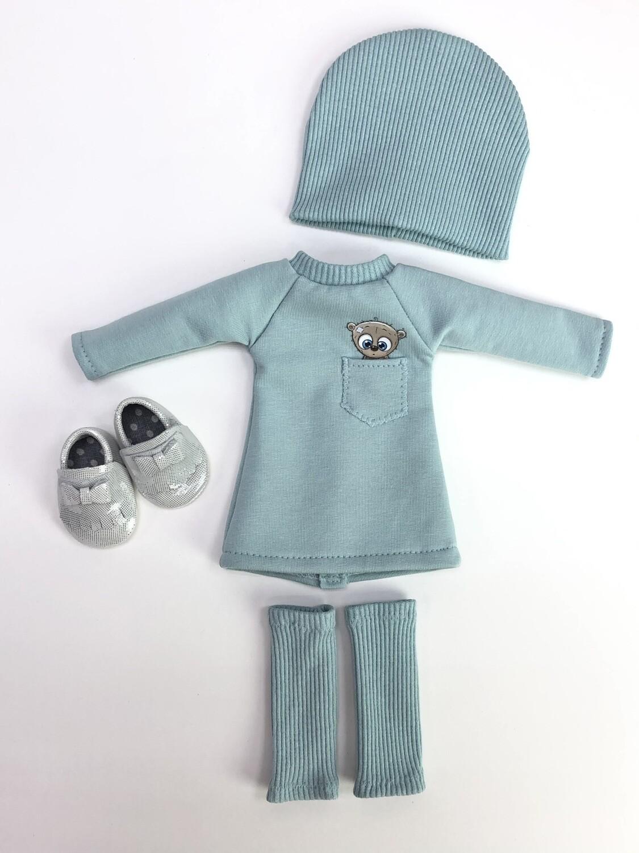 Комплект для куклы (платье с мишкой в кармашке) Paola Reina 32-34 см, с зайкой