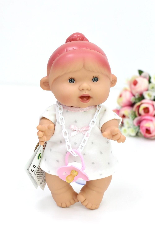 Ванильный пупс Nines d'Onil Девочка с розовой челочкой - 26 см