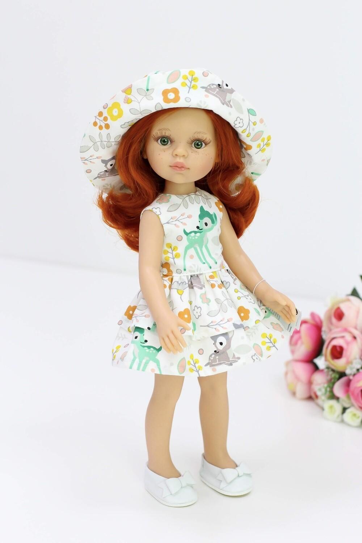 Яркая Кристи с зелеными глазами и огненно-рыжими волосами в летнем платье с панамкой (Паола Рейна), 34 см