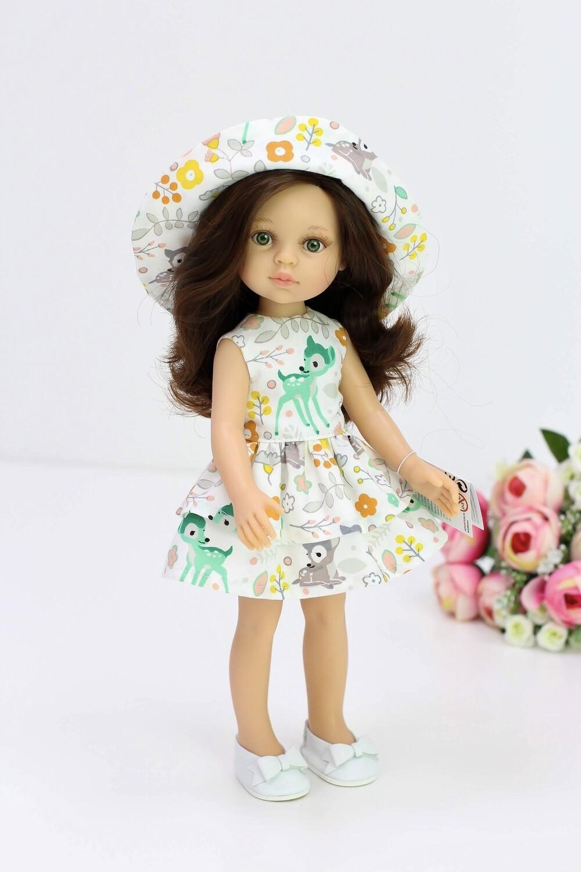 Кукла Кэрол с волосами по пояс в летнем платье с панамкой, с зелеными глазами (Паола Рейна), 34 см