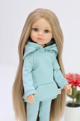 Кукла Карла Рапунцель с серо-голубыми глазами в костюме мята (пижама в комплекте), Паола Рейна , 34 см