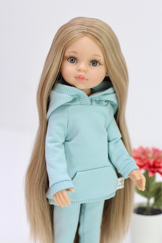 Кукла Карла Рапунцель с серо-голубыми глазами в костюме мята (в комлекте с пижамой), Паола Рейна , 34 см