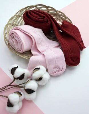 3 пары колготок для девочки (бордовые, розовые, серые с единорожкой)