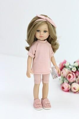 Кукла Карла с волосами по пояс в стильном образе, с серыми глазами (Паола Рейна), 34 см