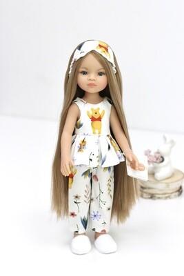 Кукла Маника с волосами до щиколоток (Рапунцель) в пижаме с винни (пижама фабричная в комплекте), Паола Рейна, 34 см