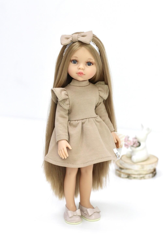 Кукла Карла Рапунцель с серо-голубыми глазами в платье Паола Рейна (пижама в комплекте), 34 см