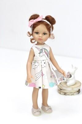 Кукла Кристи с буклями в модном платье с единорожкой,  Паола Рейна , 34 см