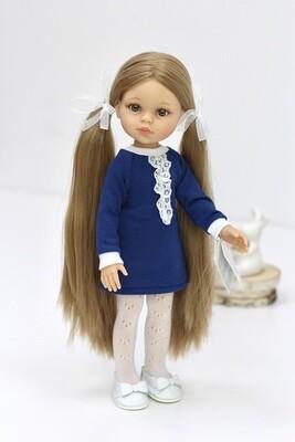Кукла Карла Рапунцель с серо-голубыми глазами в наряде школьницы (пижама в комплекте), Паола Рейна , 34 см