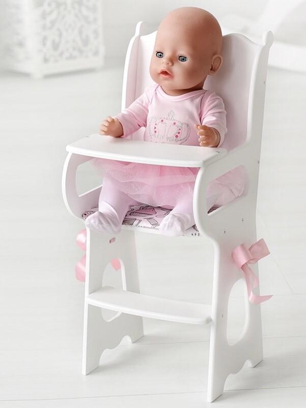 Деревянный стульчик для кормления, для кукол до 45 см (текстиль в комплекте)