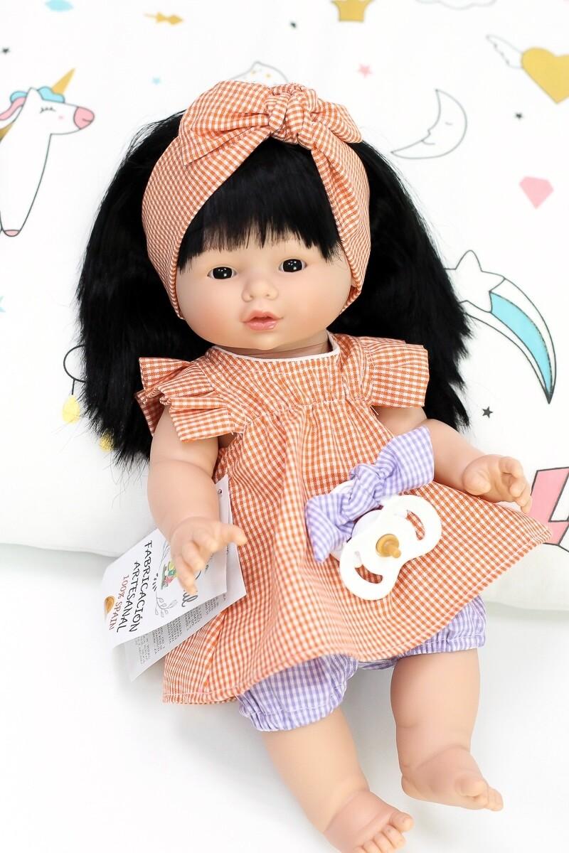 Куколка с соской, полностью виниловая Joy, Nines d'Onil, 37 см. Упаковка фирменный рюкзачок