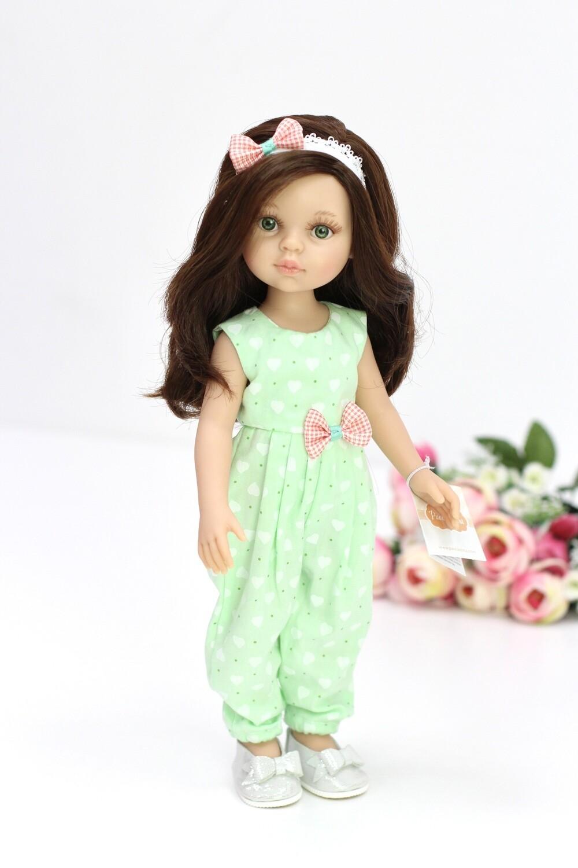 Кукла Кэрол с волосами по пояс в модном комбинезоне, с зелеными глазами (Паола Рейна), 34 см