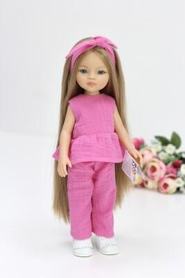 Кукла Маника с волосами до щиколоток (Рапунцель) в костюме из муслина (пижама в комплекте), Паола Рейна, 34 см
