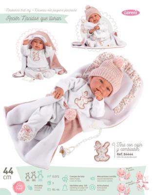 Кукла мягконабивная Tina со звуковым механизмом, Llorens, 44 см, в комплекте конверт-одеяльце с подушечкой