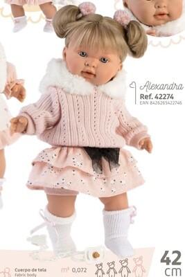 Кукла мягконабивная Alexandra со звуковым механизмом, Llorens, 42 см. Упаковка фирменная коробка