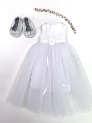 Нарядное белое платье с веночком из бисера для куклы Paola Reina 32-34 см