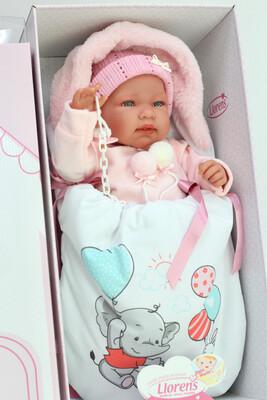 Кукла мягконабивная Tina со звуковым механизмом, Llorens, 44 см, в комплекте тёплый конверт со слоником. Упаковка фирменная коробка