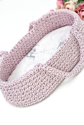 Плетёная переноска для кукол до 36 см, цвет нежно-розовый в крапинку, матрасик в комплекте