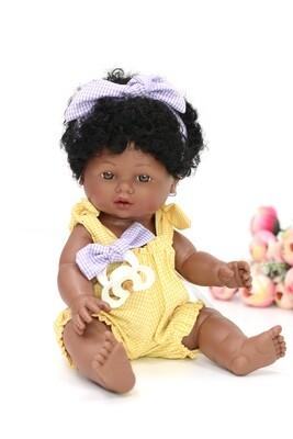 Куколка-мулатка с соской, полностью виниловая Joy, Nines d'Onil, 37 см. Упаковка фирменный рюкзачок
