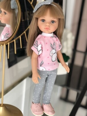 Кукла Карла с челкой, серые глазки, с волосами по пояс в комплекте с зайками, (Паола Рейна), 34 см