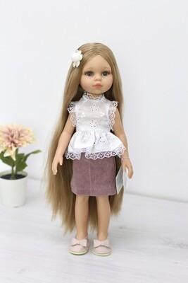 Кукла Карла Рапунцель с серо-голубыми глазами в стильном образе (в комплекте с пижамой), Паола Рейна , 34 см