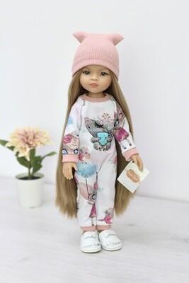 Кукла Маника с волосами до щиколоток (Рапунцель) в модном комбезе с кротиком (пижама в комплекте), Паола Рейна, 34 см