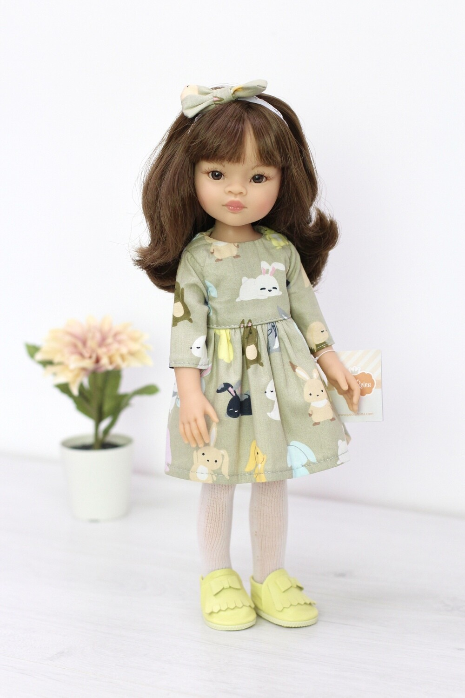 Кукла Мали с челкой и карими глазами в красивом наряде, Паола Рейна, 34 см