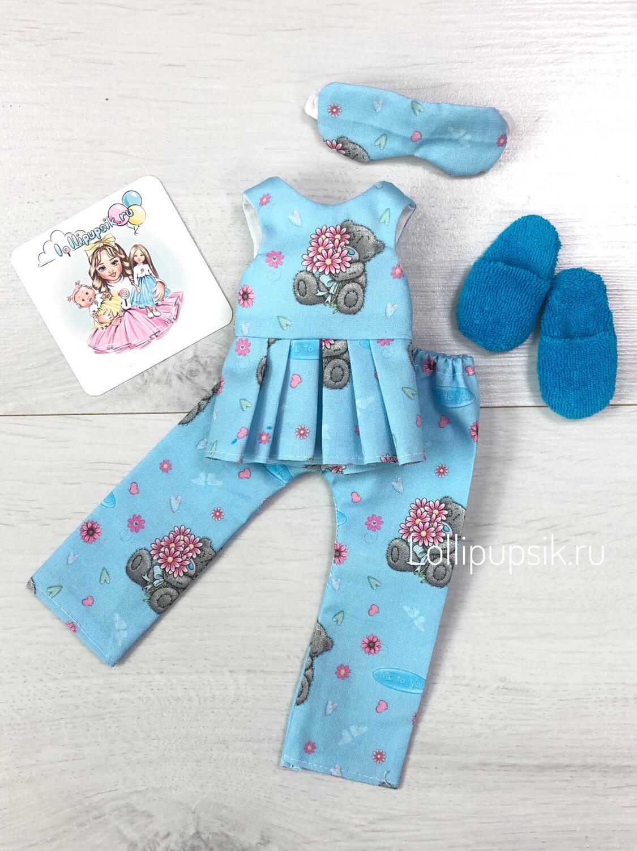 Пижама с мишкой (голубая) для куклы Paola Reina 32-34 см
