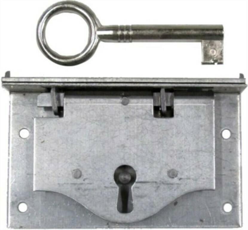 Half Mortise Drawer or Left Hand Door Lock  ANTIQUE TRUNK STEAMER OLD VINTAGE