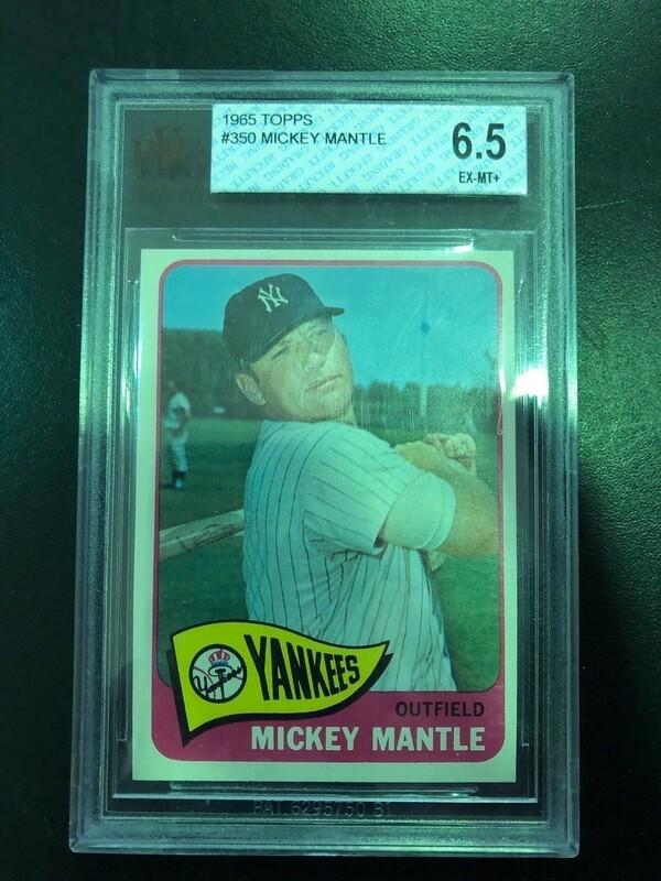 1965 Topps #350 Mickey Mantle Beckett graded 6.5, $650