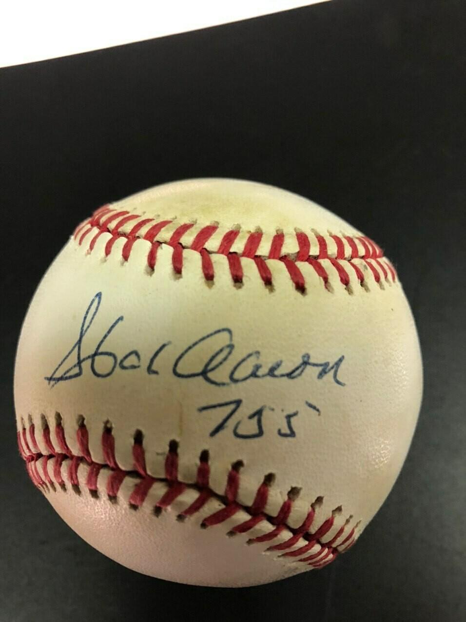 Hank Aaron signed baseball (755)