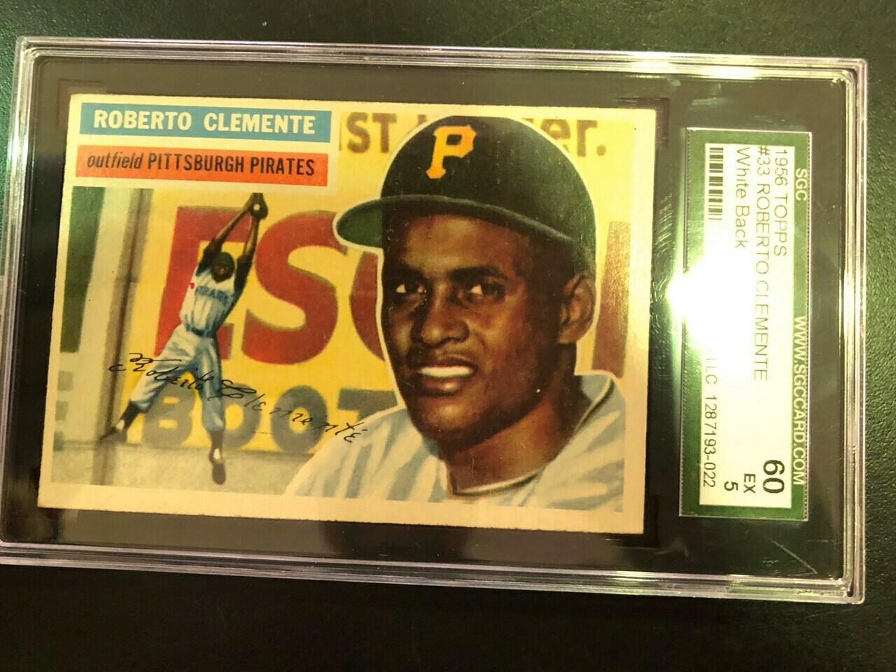 1956 Topps #33 Roberto Clemente, SGC graded 5, $495