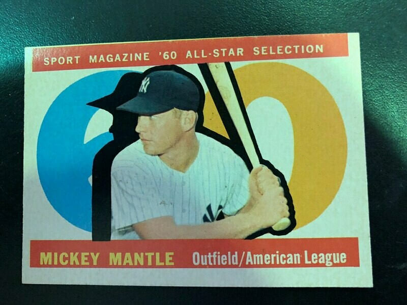1960 Topps #563  Mickey Mantle All Star, List $250, Sell $175
