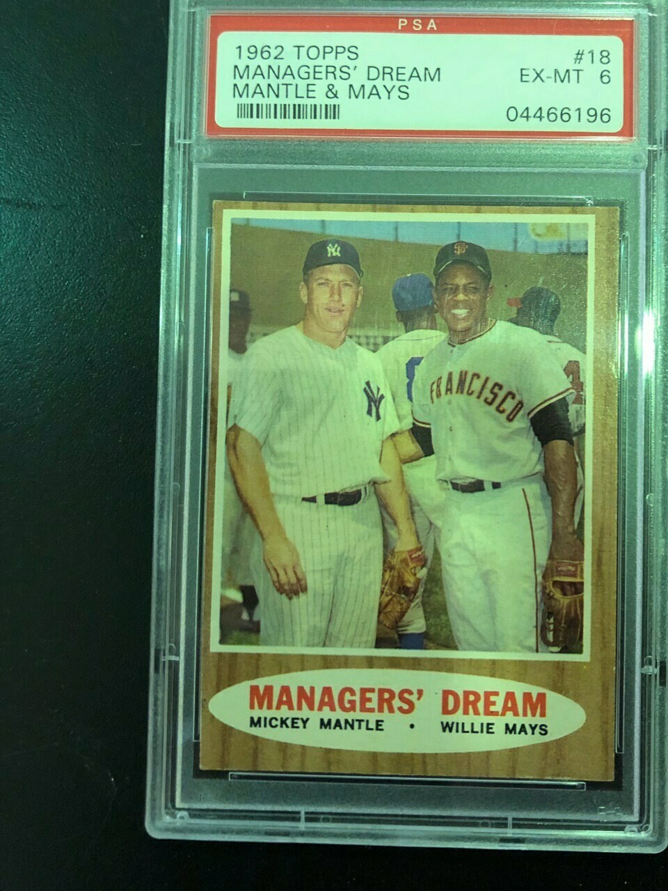 1962 Topps #18 Managers' Dream Mantle/Mays PSA graded 6, $175