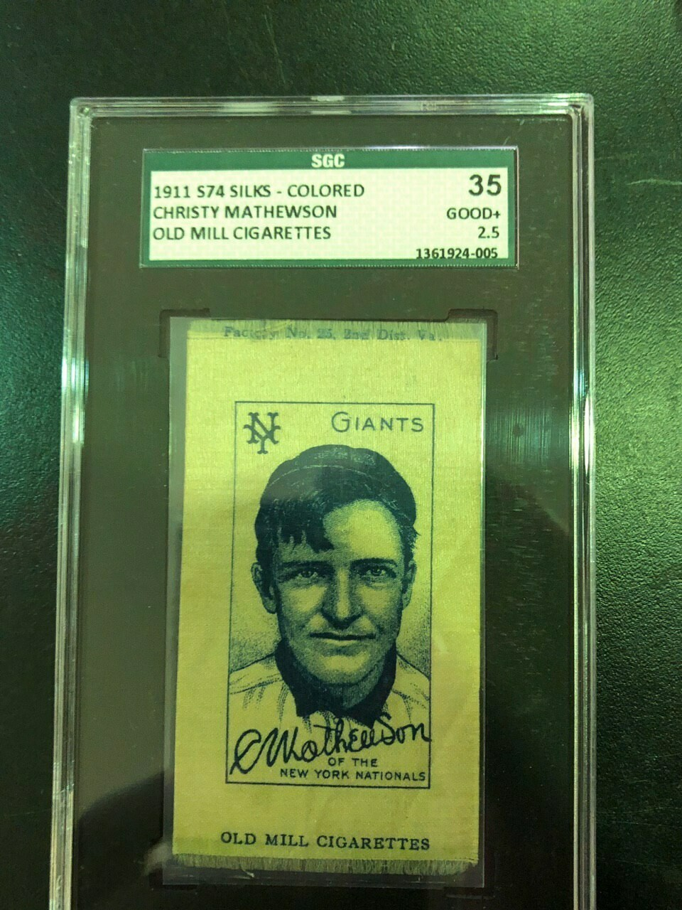 1911 Old Mill S74 Silk Christy Mathewson SGC graded 2.5 $695
