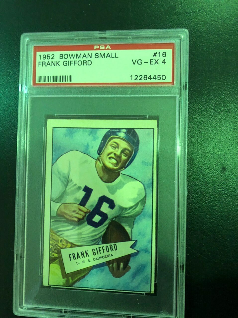 1952 Bowman Small #16 Frank Gifford rookie PSA graded 4, List $400, Sell $295