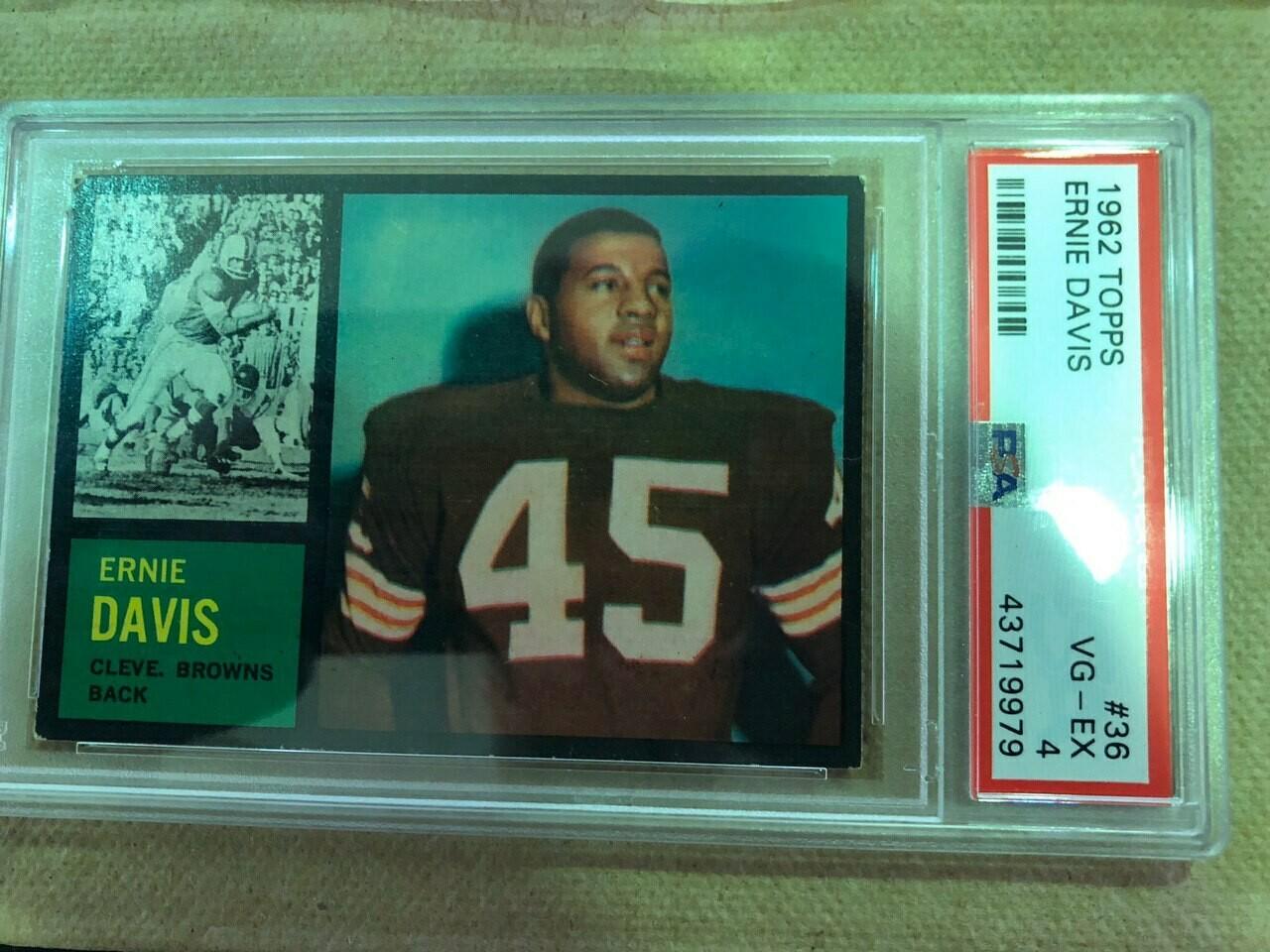 1962 Topps #36 Ernie Davis rookie PSA graded 4, $150